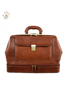 Leather Doctor Bag, Bottom Compartment and Front Pocket - House