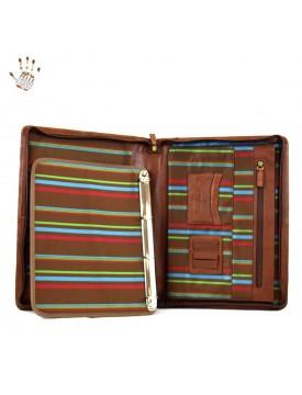 Porta Documenti A4 in Pelle Vera con Anelli e Manico - Luis