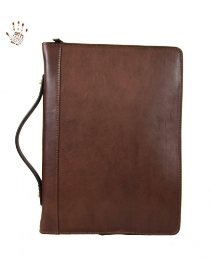 Genuine Leather A4 Documents Folder with Binder and Handle - Luis