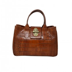 Genuine Crocodile Printed Leather Handbag - Elena