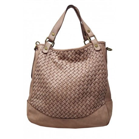 Borsa Shopper in Vera Pelle con Intreccio - Lorea