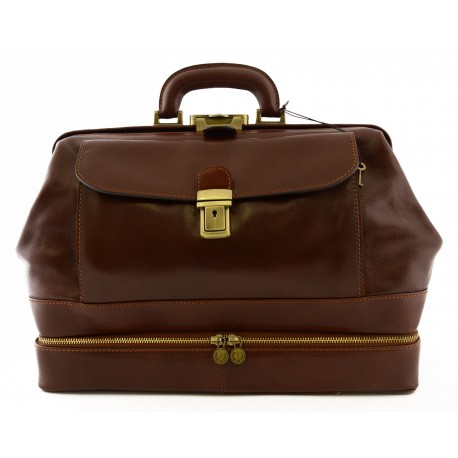 Leather Doctor Bag, Bottom Compartment and Front Pocket - Pogo