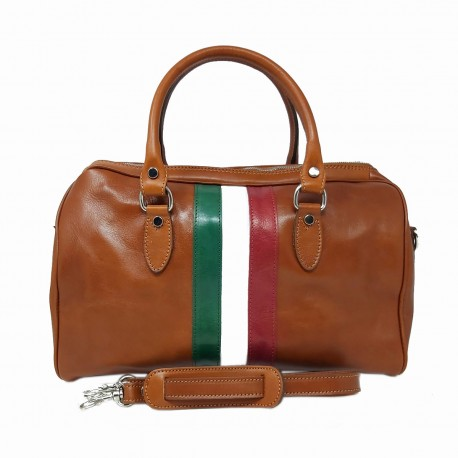 Leather Bowling Bag with Italian Flag - Missi
