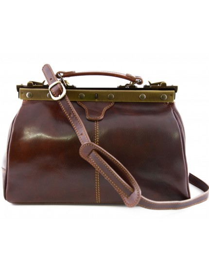 Genuine Leather Doctor Bag, Overlapping metal hinges closure - Fexat