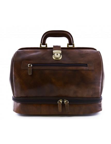 Echtes Leder Arzttasche, Doppelboden und Vordertasche - Perk
