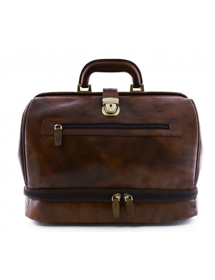 Genuine Leather Doctor Bag, Double bottom and front pocket - Perk