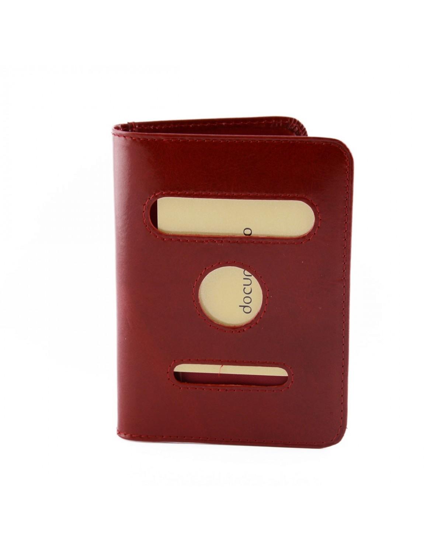 Porta Passaporto In Vera Pelle 2 Tasche Interne Per Carte