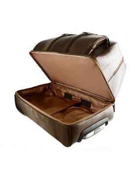 Borsone con Trolley in Vera Pelle, Vano interno porta laptop - Rossano