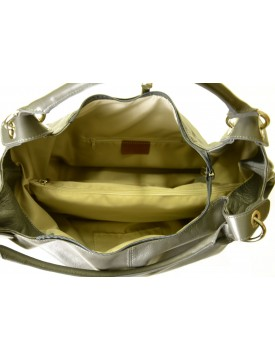 Borsa Shopper in Vera Pelle, Manici con anelli in metallo - Brandie