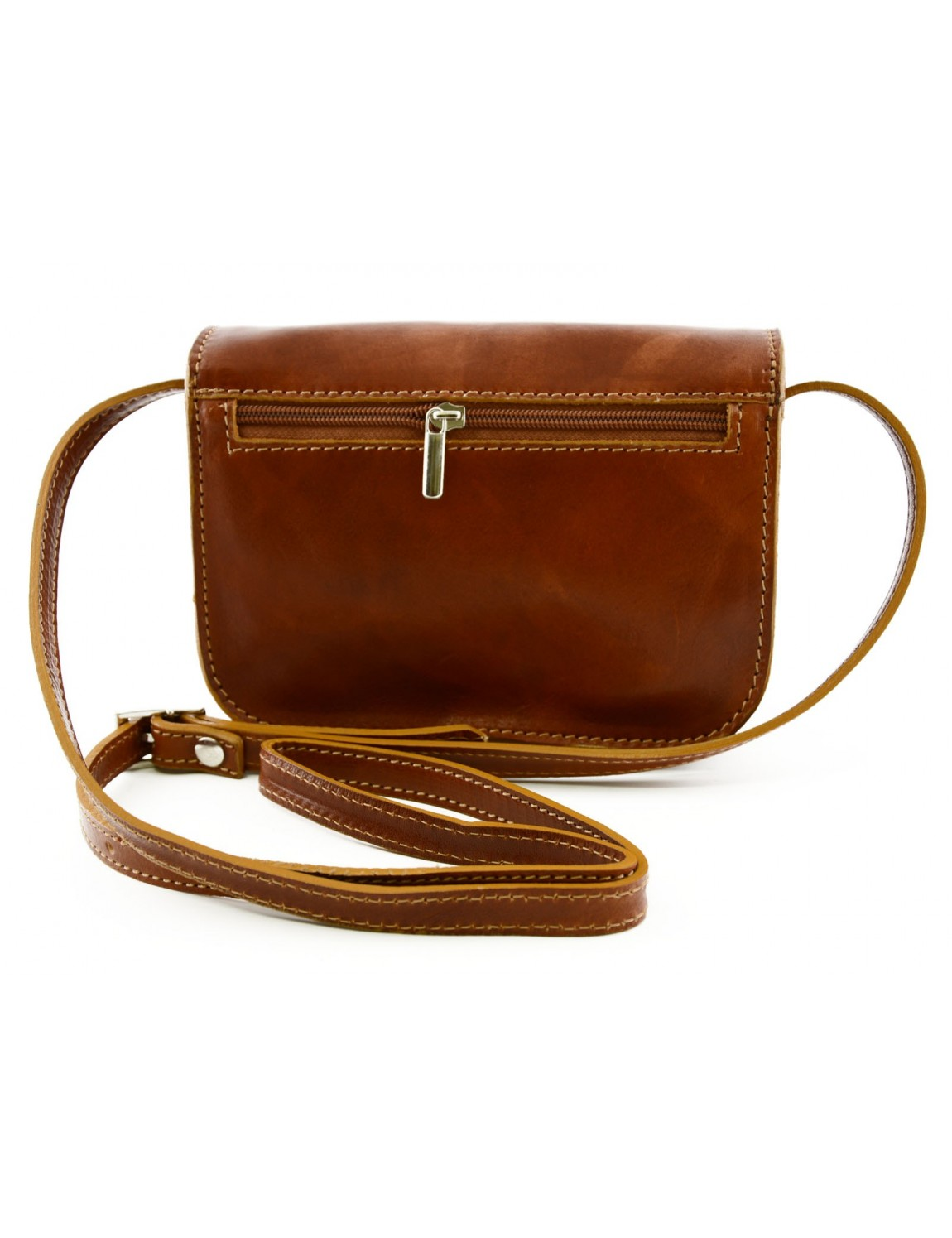 Mini Woman Crossbody Bag In Genuine Leather With 3 Compartments Eliana