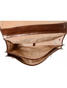 Cartella in Vera Pelle con 2 ampi scomparti interni e accessori cromati - Gallant