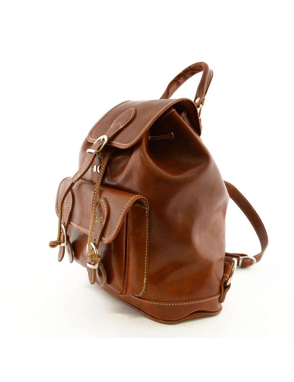 sac dos en cuir v ritable poche frontale avec boucles. Black Bedroom Furniture Sets. Home Design Ideas