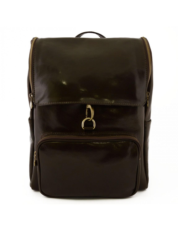 sac dos en cuir avec fermeture glissi re et mousqueton. Black Bedroom Furniture Sets. Home Design Ideas