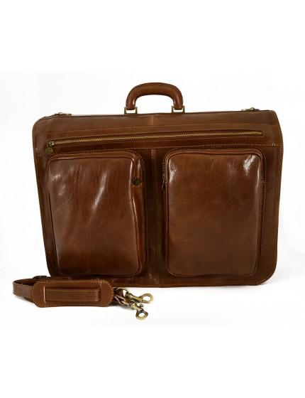 Leather Garment Bag - 2 Hangers - Ebisu
