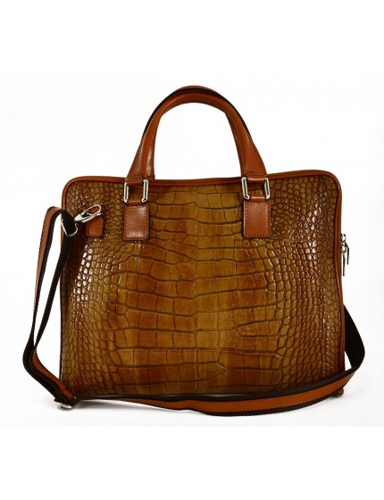 Genuine Leather Woman Briefcase Crocodile Printed - Gaiaco