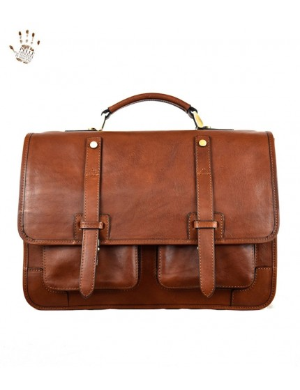Genuine Leather Briefcase Backpack with Padded Compartment - Sebastian