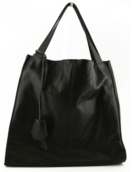 Genuine Leather Shopper Bag with Leather Pendant - Lilli