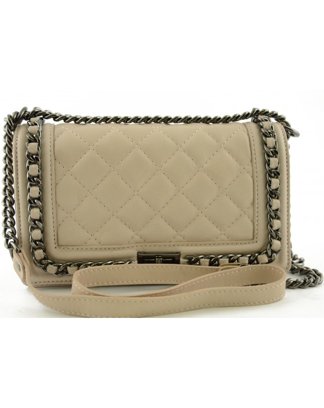 Genuine Leather Quilted Shoulder Bag with Leather and Chain Strap - Eleonor