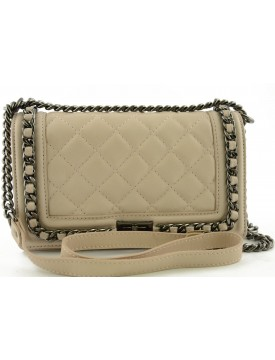 Leather Quilted Bag with Braided Chain - Eleonor