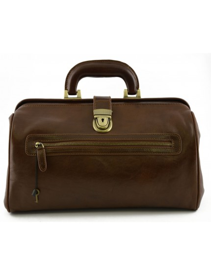 Genuine Leather Medical Bag with Front Pocket - Maca