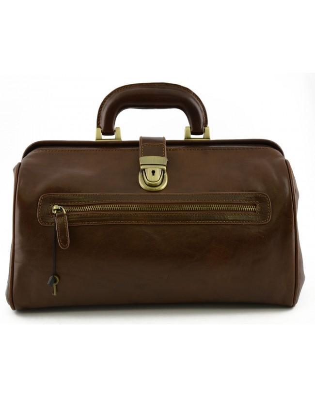 Genuine Leather Medical Bag with Front Pocket - Maca