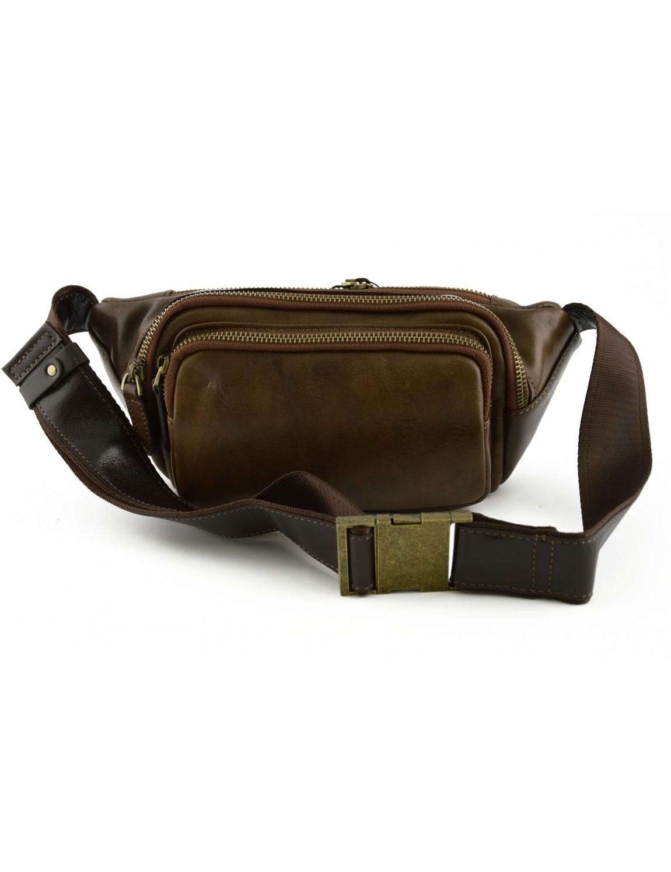 20c602f6b602e Genuine Leather Man Bum Bag with Pockets - Wago