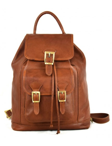 Vegetable Tanned Leather Backpack with Front Pocket - Linda