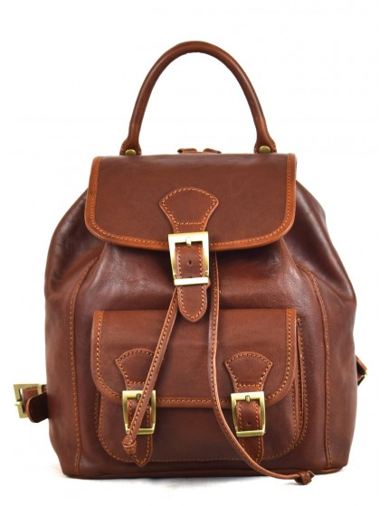 Leather Backpack for Women with Pocket and Adjustable Straps - Amanda