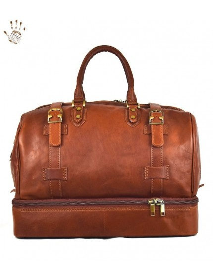 Leather Travel Bag with Double Bottom for Shoes - Morgan
