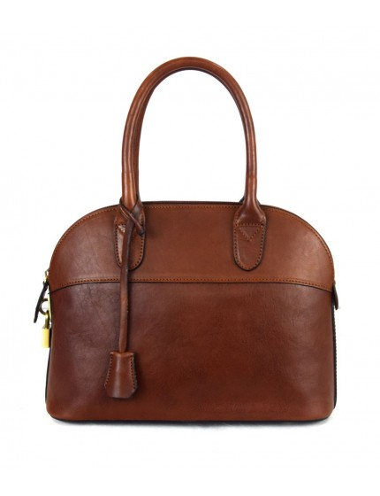 Leather Handbag for Woman with Padlock - Frida