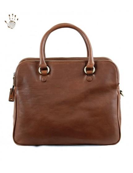 Handtasche aus echtem pflanzlich gegerbtem Leder mit Fächern - Taylor