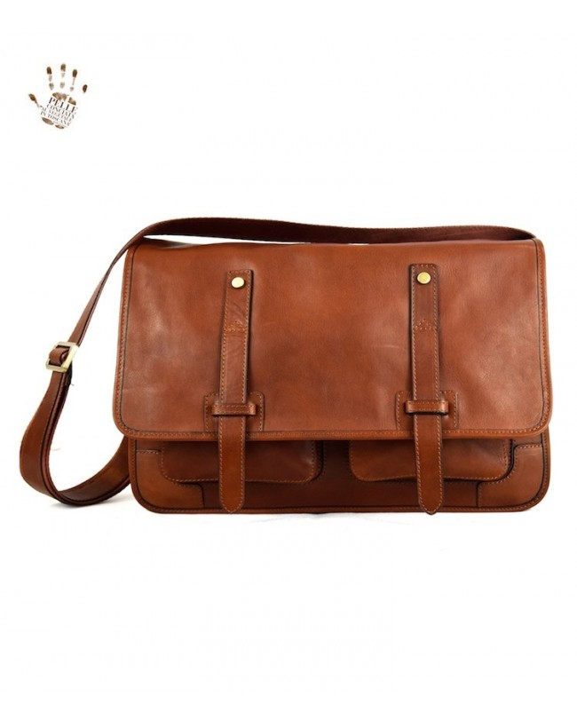 a02af1982555 Vegetable Tanned Leather Messenger Bags with Front Pockets - Harrison