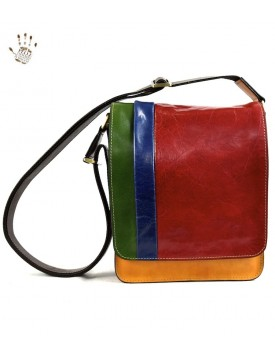 Vegetable Tanned Leather Crossbody Man Bag with Compartments - Litu