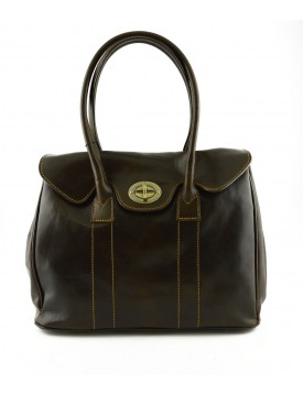 Genuine Leather Women Shoulder Bag with Rotary Button - Gina