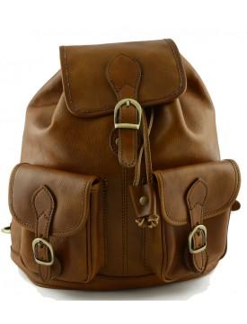 Rucksack aus Pflanzlich Gegerbtem Leder mit zwei Fächern - Omegave