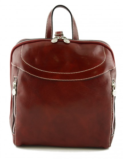 Rucksack aus Leder mit Frontfächern - Effe