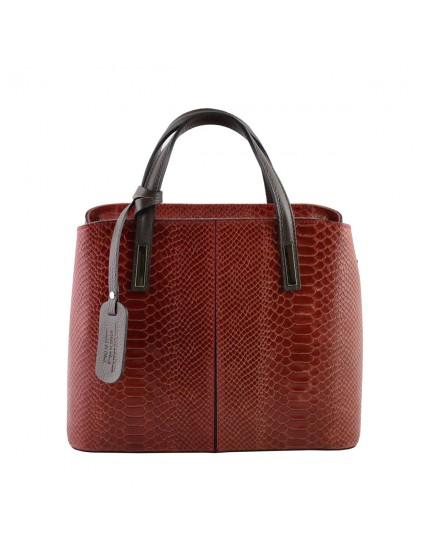 Handtasche aus echtem Leder mit Pythonmuster Druck - Logan