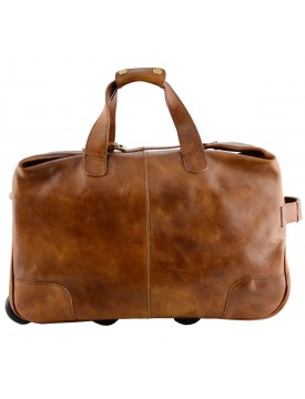 Genuine Vegetable Tanned Leather Trolley Travel Bag - Kingve