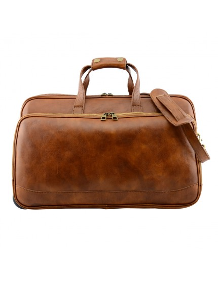 Genuine Vegetable Tanned Leather Trolley Travel Bag - Lokive