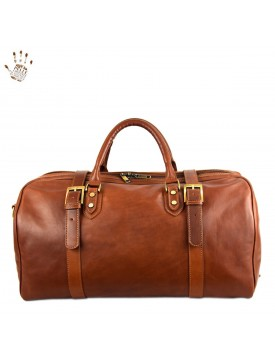 Genuine Vegetable Tanned Leather Travel Bag - Moss